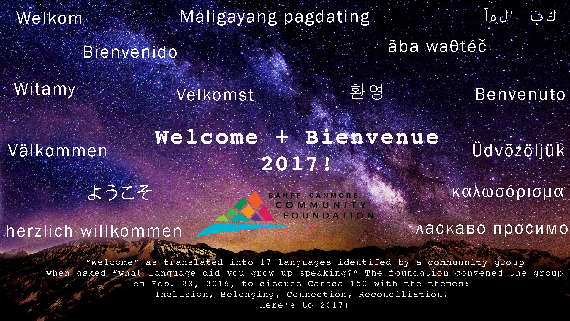 Welcome + Bienvenue 2017! - Banff Canmore Community Foundation